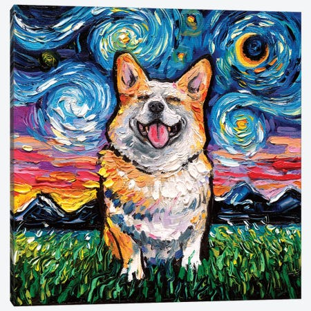 Smiling Corgi Night Canvas Print #AJT108} by Aja Trier Canvas Artwork