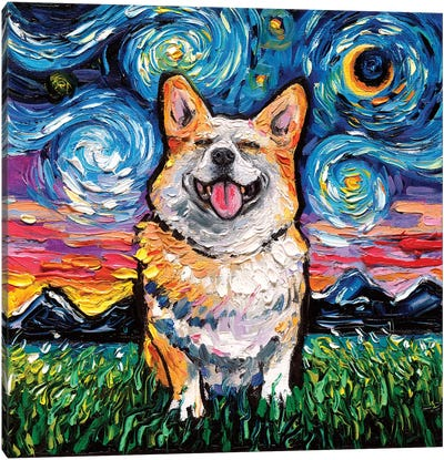 Smiling Corgi Night Canvas Art Print