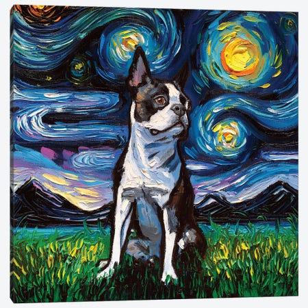 Boston Terrier Night II Canvas Print #AJT109} by Aja Trier Canvas Artwork