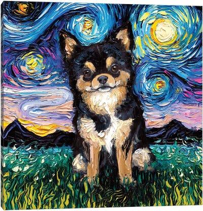 Black And Tan Chihuahua Night Canvas Art Print
