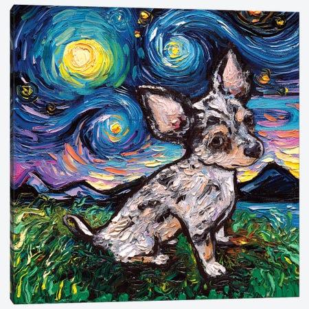 Merle Teacup Chihuahua Night Canvas Print #AJT115} by Aja Trier Canvas Wall Art