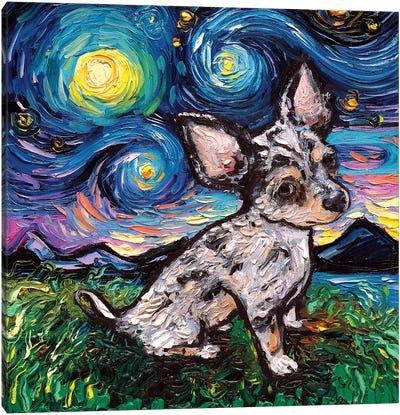 Merle Teacup Chihuahua Night Canvas Art Print