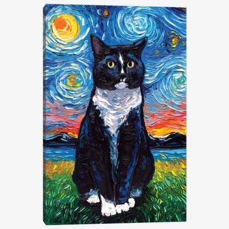 Tuxedo Cat Night Canvas Print #AJT116} by Aja Trier Canvas Artwork