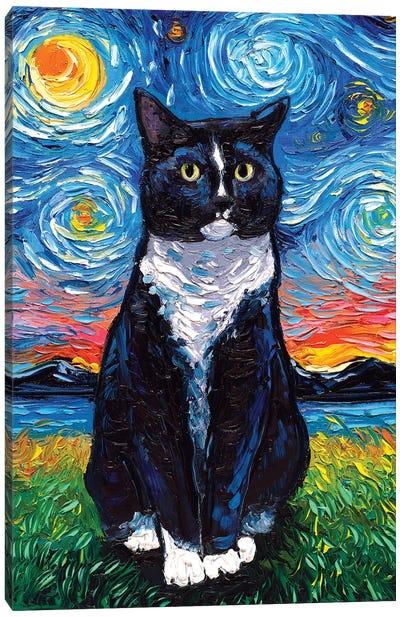 Tuxedo Cat Night Canvas Art Print