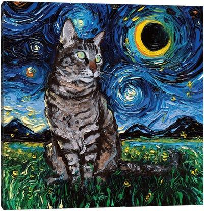 Tiger Cat Night Canvas Art Print