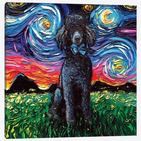 Black Poodle Night Canvas Print #AJT11} by Aja Trier Canvas Art