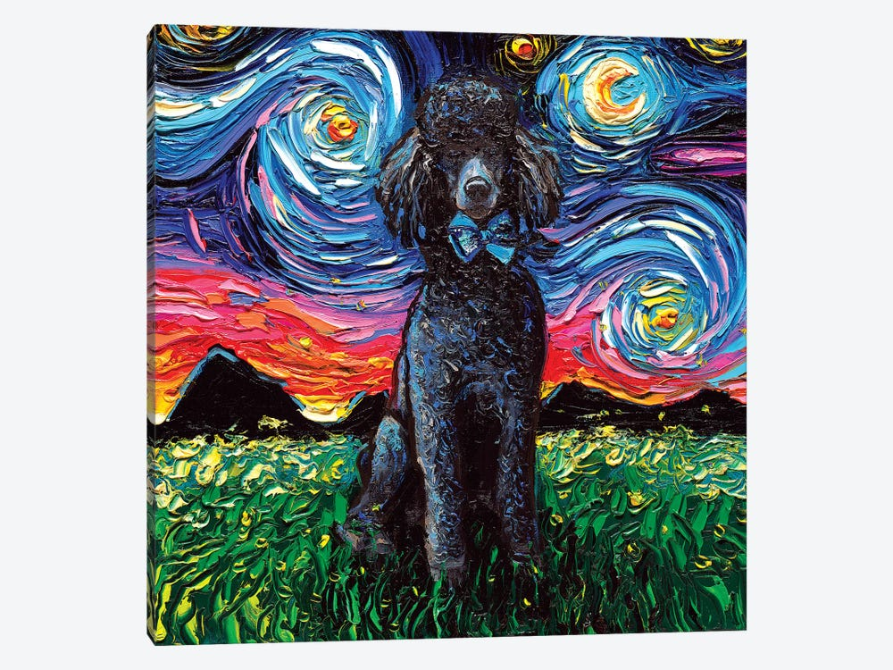 Black Poodle Night by Aja Trier 1-piece Canvas Print