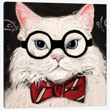 Chemistry Cat Contemplates The Science Of Catnip Canvas Print #AJT120} by Aja Trier Canvas Art
