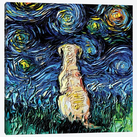 Yellow Labrador Night Canvas Print #AJT122} by Aja Trier Canvas Art