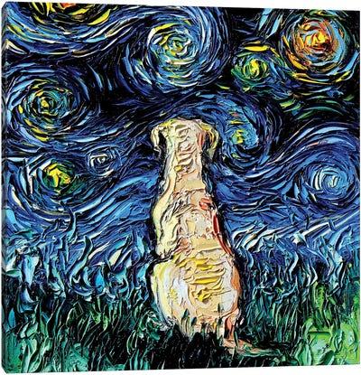 Yellow Labrador Night Canvas Art Print