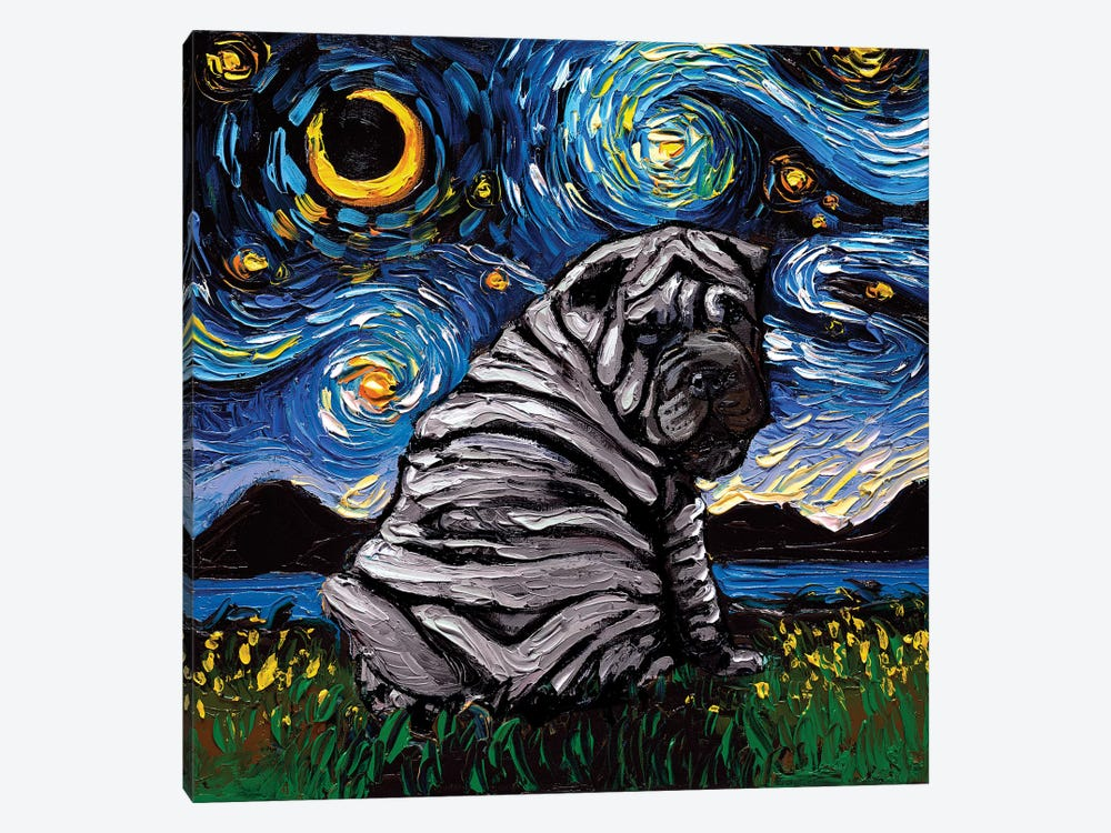 Blue Shar-Pei Night by Aja Trier 1-piece Canvas Art Print