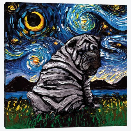 Blue Shar-Pei Night Canvas Print #AJT123} by Aja Trier Canvas Artwork