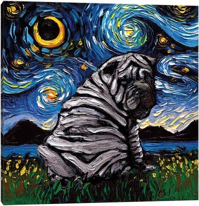 Blue Shar-Pei Night Canvas Art Print