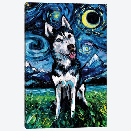 Happy Husky Night Canvas Print #AJT126} by Aja Trier Canvas Art Print