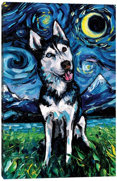 Happy Husky Night Canvas Art Print