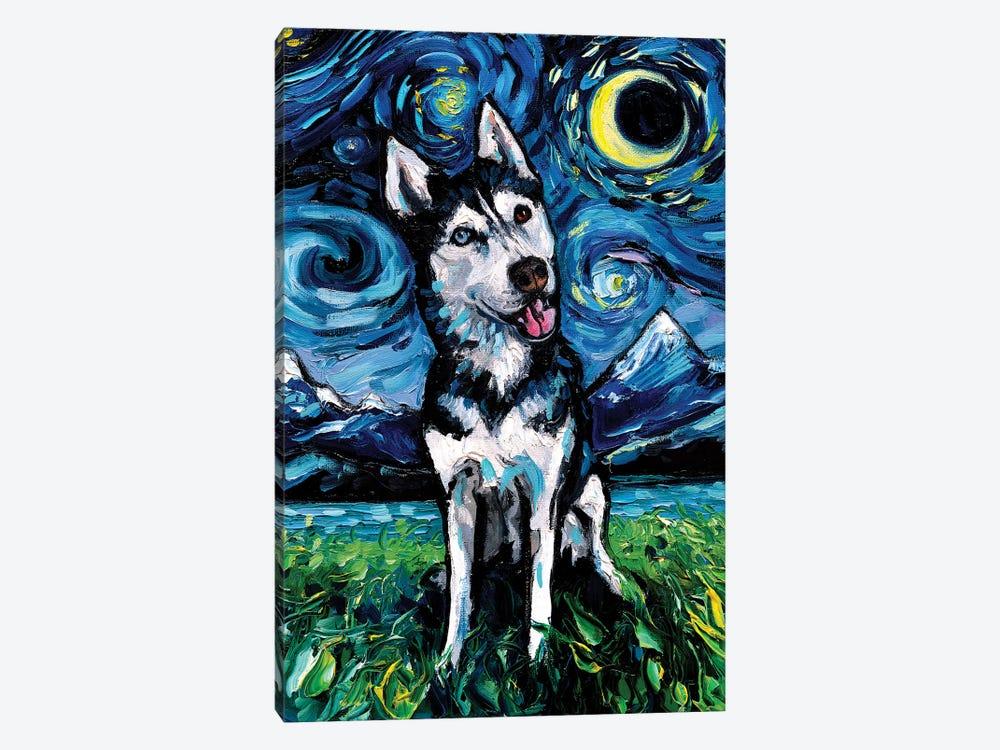 Happy Husky Night by Aja Trier 1-piece Canvas Art