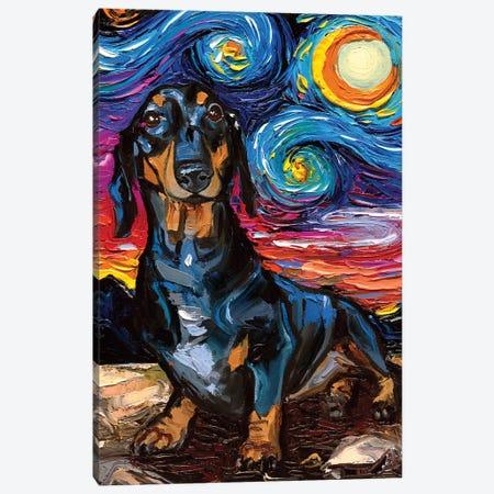Black And Tan Dachshund Night II Canvas Print #AJT128} by Aja Trier Canvas Artwork