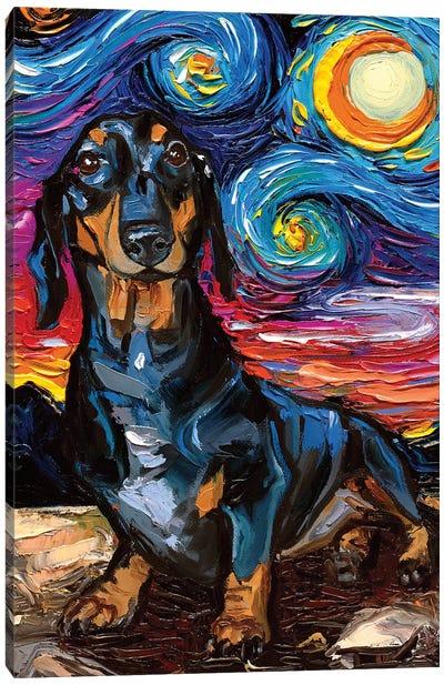 Black And Tan Dachshund Night II Canvas Art Print