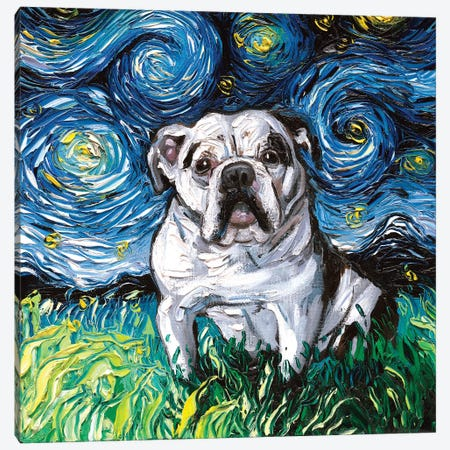 Charlie Bulldog Night Canvas Print #AJT129} by Aja Trier Canvas Artwork