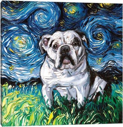Charlie Bulldog Night Canvas Art Print