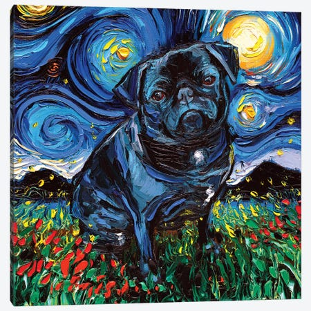 Black Pug Night Canvas Print #AJT12} by Aja Trier Canvas Art