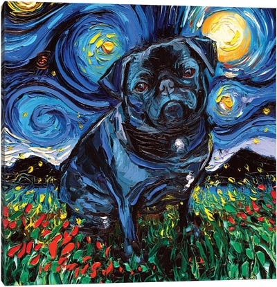 Black Pug Night Canvas Art Print