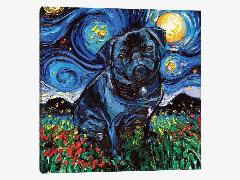 Black Pug Night by Aja Trier 1-piece Canvas Art