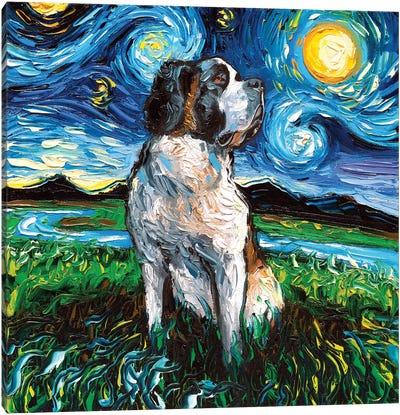 Saint Bernard Night Canvas Art Print