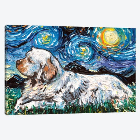 Clumber Spaniel Night Canvas Print #AJT137} by Aja Trier Canvas Art