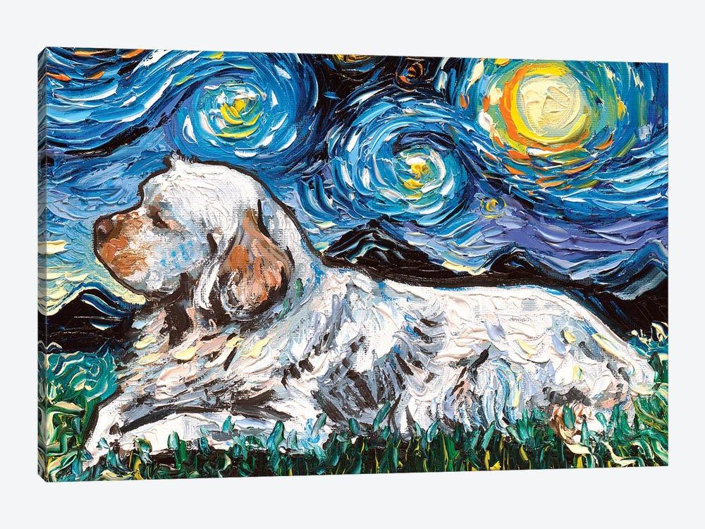 Clumber Spaniel Night by Aja Trier 1-piece Canvas Art