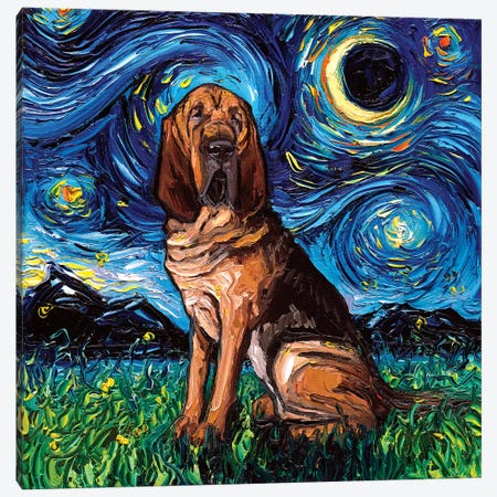 Bloodhound Night Canvas Print #AJT13} by Aja Trier Canvas Art