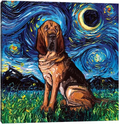 Bloodhound Night Canvas Art Print