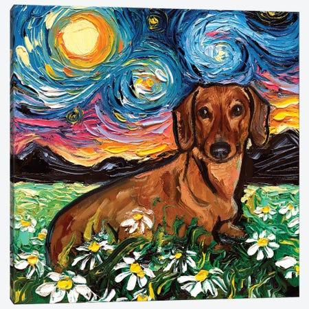 Daisy Dachshund Night Canvas Print #AJT140} by Aja Trier Canvas Artwork