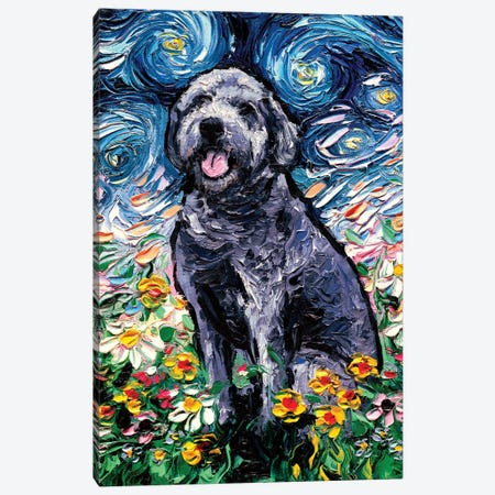 Gray Labradoodle Night 3-Piece Canvas #AJT143} by Aja Trier Canvas Art