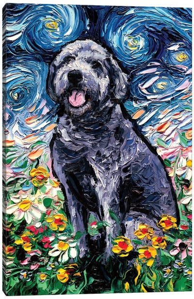 Gray Labradoodle Night Canvas Art Print