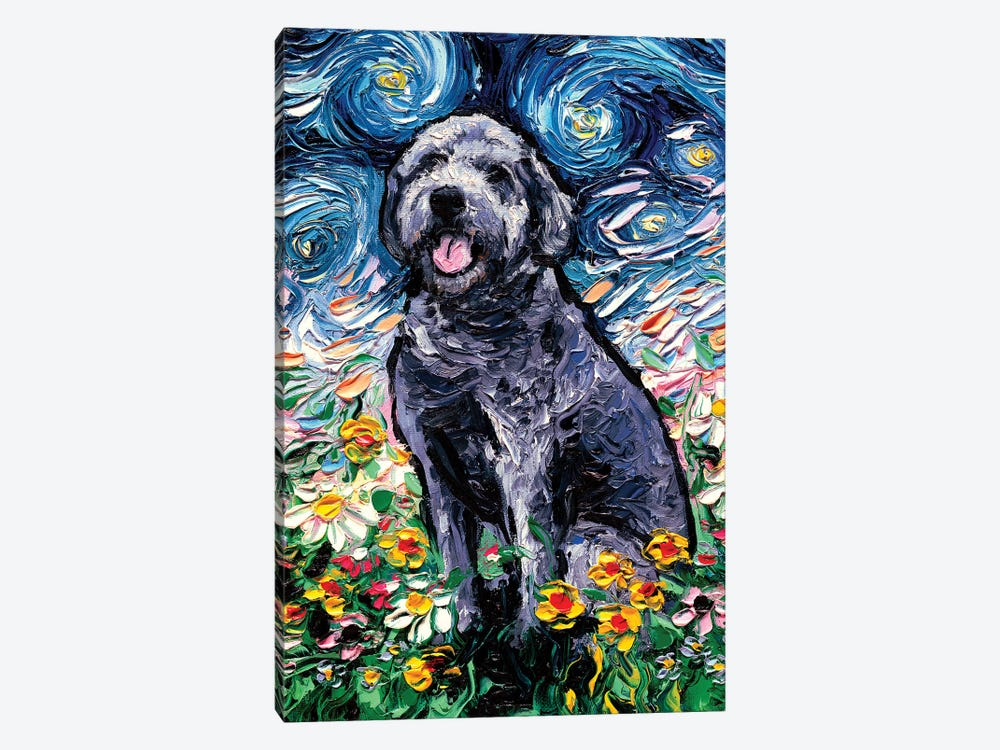 Gray Labradoodle Night by Aja Trier 1-piece Canvas Art Print