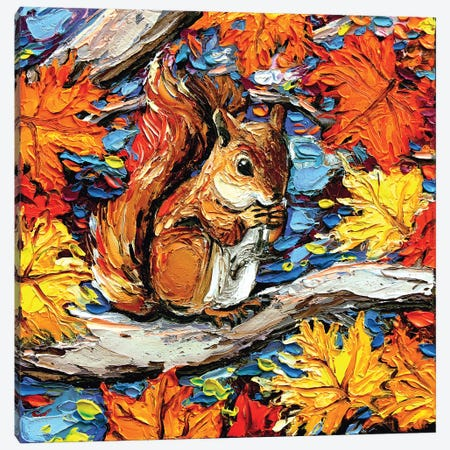 Squirreling Away Canvas Print #AJT149} by Aja Trier Canvas Wall Art