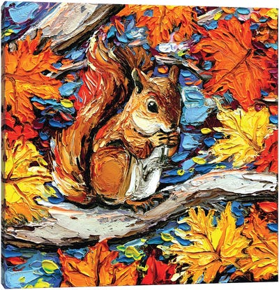 Squirreling Away Canvas Art Print
