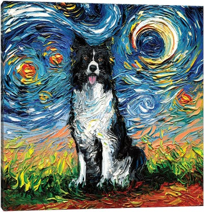 Border Collie Night II Canvas Art Print