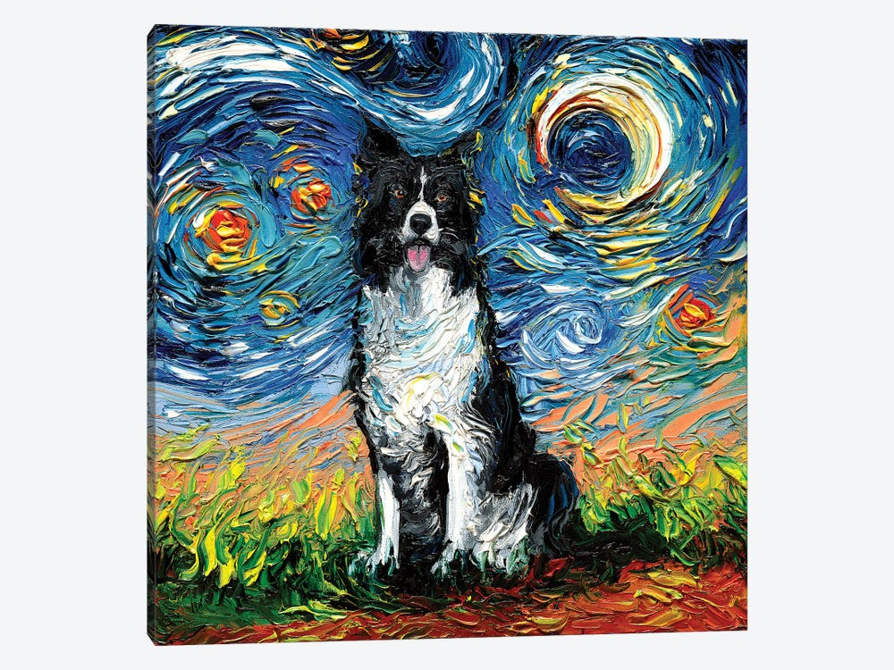 Border Collie Night II by Aja Trier 1-piece Canvas Art