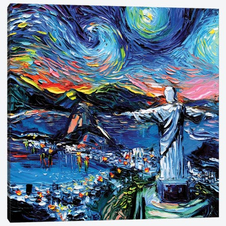 Van Gogh Never Saw Christ The Redeemer Canvas Print #AJT151} by Aja Trier Canvas Art Print