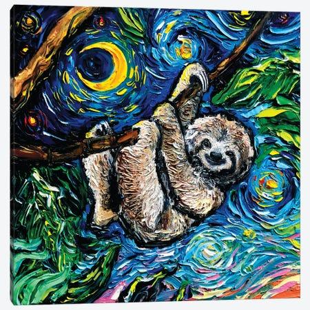 Starry Sloth Canvas Print #AJT165} by Aja Trier Art Print