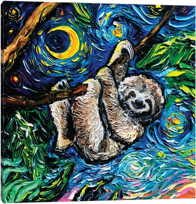 Starry Sloth Canvas Art Print