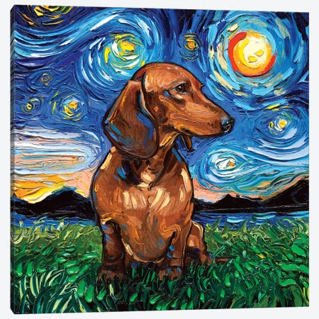 Brown Shorthair Dachshund Night 3-Piece Canvas #AJT16} by Aja Trier Canvas Art Print