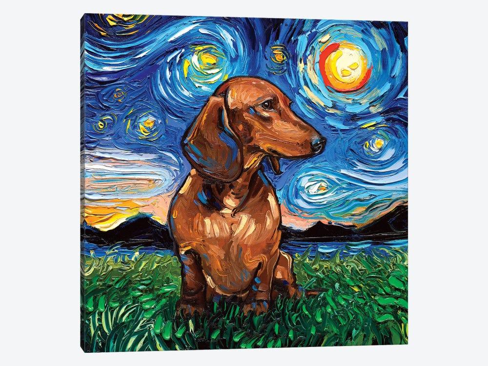 Brown Shorthair Dachshund Night by Aja Trier 1-piece Canvas Artwork