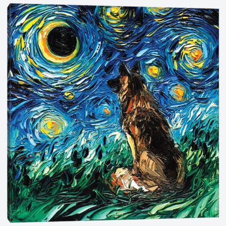 German Shepherd Night Canvas Print #AJT170} by Aja Trier Canvas Art Print