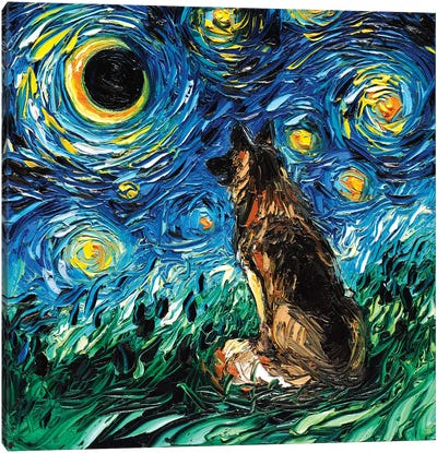 German Shepherd Night Canvas Art Print