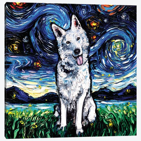 Swiss Shepherd Night Canvas Print #AJT171} by Aja Trier Art Print