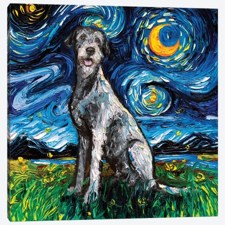 Irish Wolfhound Night Canvas Print #AJT174} by Aja Trier Canvas Wall Art