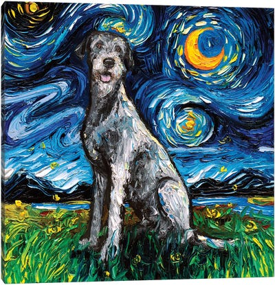 Irish Wolfhound Night Canvas Art Print